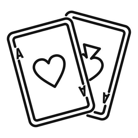 Video game playing cards icon. Outline video game playing cards icon for web design isolated on white background