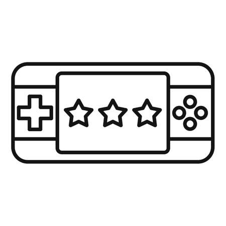Portable game device icon. Outline portable game device icon for web design isolated on white background