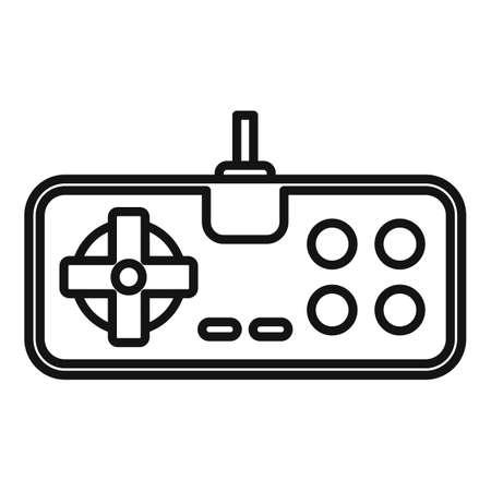 Retro game joystick icon. Outline retro game joystick vector icon for web design isolated on white background Illusztráció