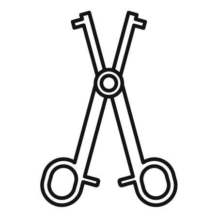 Piercing scissors icon, outline style