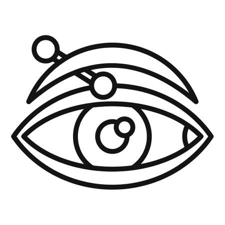 Eye piercing icon, outline style Ilustrace