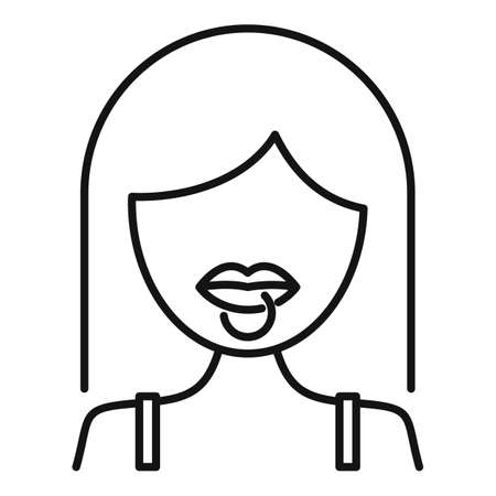 Student lips piercing icon, outline style