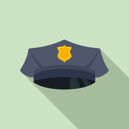Police officer cap icon, flat style
