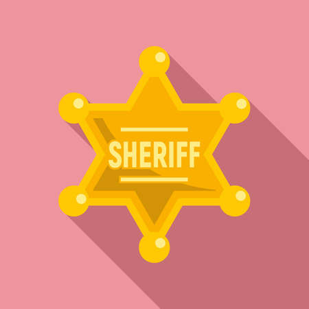 Sheriff gold star icon, flat style