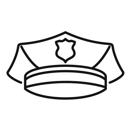 Police officer cap icon, outline style
