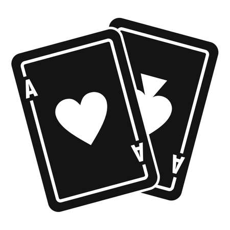 Video game playing cards icon, simple style Illusztráció