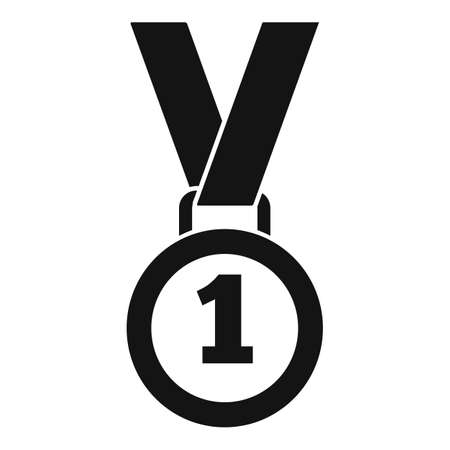 Video game medal icon, simple style