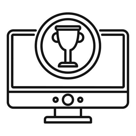 Gamification monitor cup icon, outline style Ilustrace