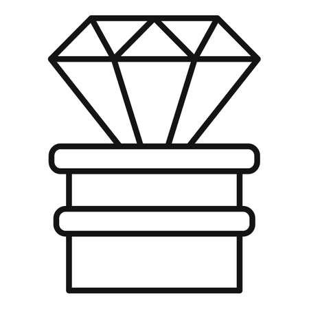 Diamond video game prize icon, outline style