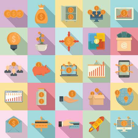 Crowdfunding platform icons set, flat style