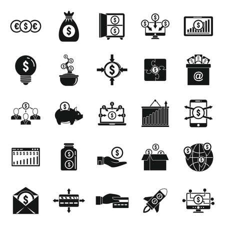 Crowdfunding platform community icons set, simple style Vetores