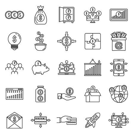Social crowdfunding platform icons set, outline style