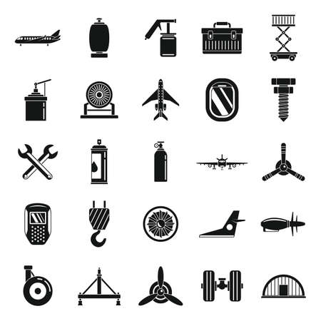 Aviation repair icons set, simple style