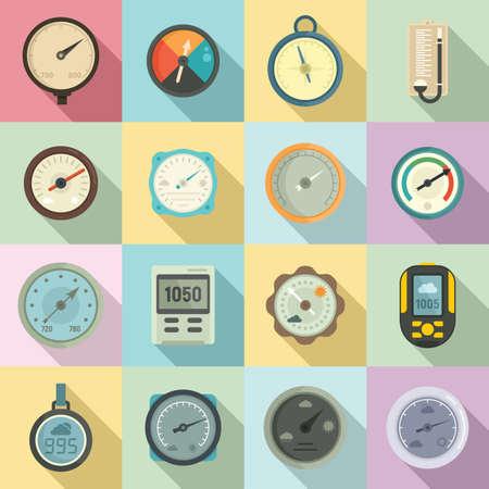 Barometer icons set, flat style