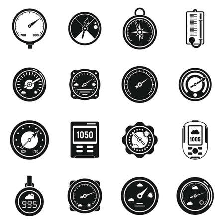 Weather barometer icons set, simple style