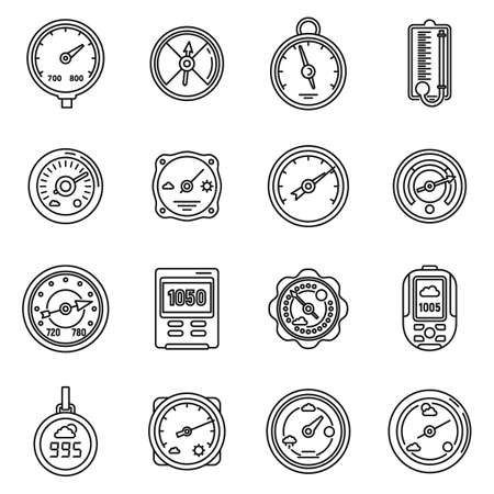 Barometer control icons set, outline style