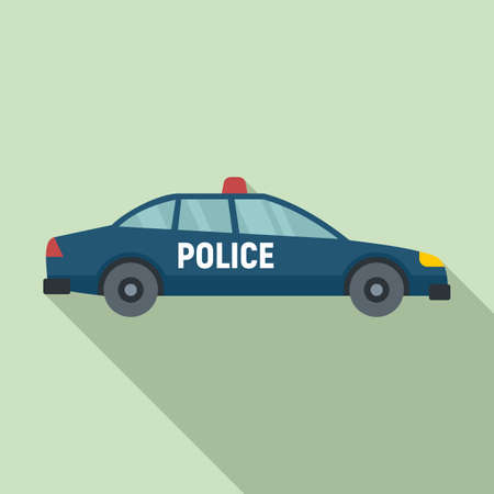 Police car icon, flat style