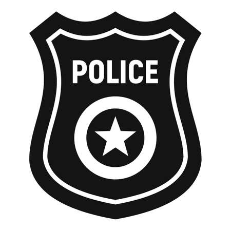 Police gold badge icon, simple style Illustration