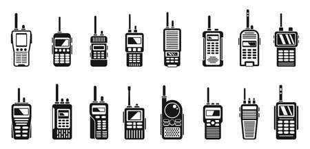 Radio walkie talkie icons set, simple style 向量圖像