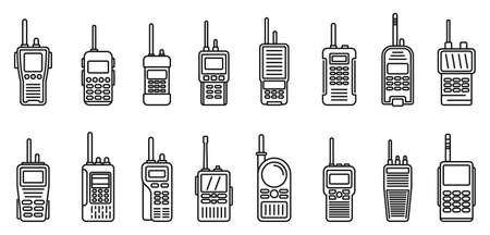 Security walkie talkie icons set, outline style 向量圖像