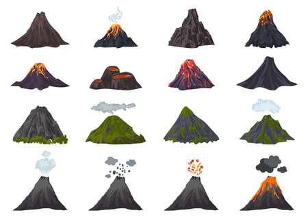 Volcano icons set, cartoon style Stock Illustratie