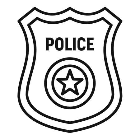 Police gold badge icon, outline style