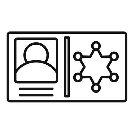 Policeman id wallet icon, outline style