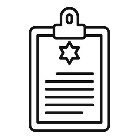 Policeman clipboard icon, outline style Stock Illustratie