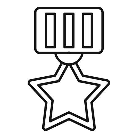 Video game gold medal icon, outline style Illustration