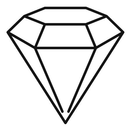 Shiny game diamond icon, outline style