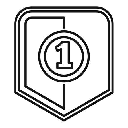 First place video game icon, outline style Ilustração