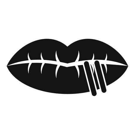 Lips piercing icon, simple style