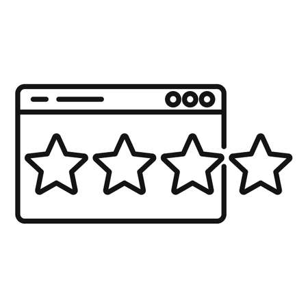 Four star video game rating icon, outline style