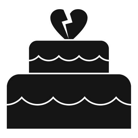 Divorce wedding cake icon, simple style Illustration