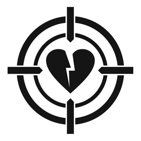 Divorce heart target icon, simple style