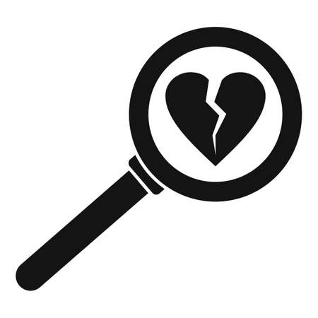 Break heart after divorce icon, simple style