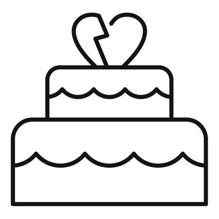 Divorce wedding cake icon, outline style