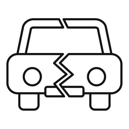Divorce car separation icon, outline style