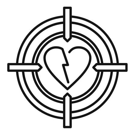 Divorce heart target icon, outline style Çizim