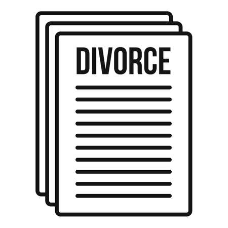 Divorce papers icon, outline style