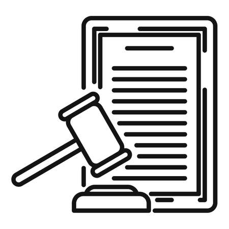 Divorce judge document icon, outline style