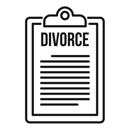 Divorce clipboard icon, outline style 写真素材 - 150699515