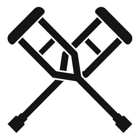 Medical crutches icon, simple style Stock Illustratie