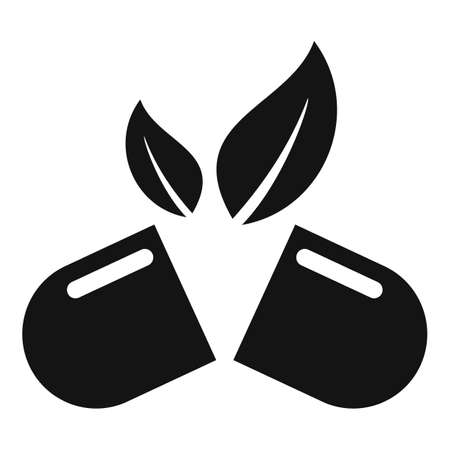 Herb eco capsule icon, simple style