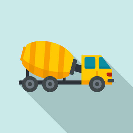Cement mixer truck icon, flat style