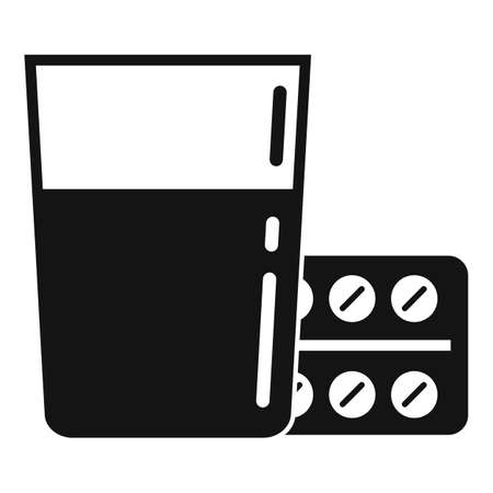Water glass with pills pack icon, simple style  イラスト・ベクター素材