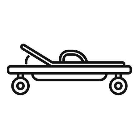 Endocrinologist cart bed icon, outline style Çizim