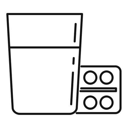 Water glass pills pack icon, outline style  イラスト・ベクター素材