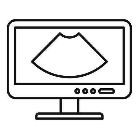Ultrasound monitor icon, outline style