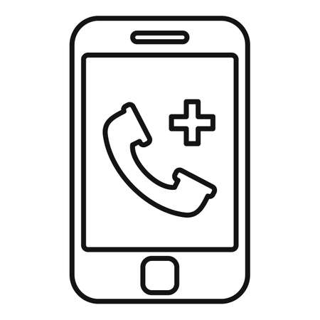Private clinic smartphone icon, outline style
